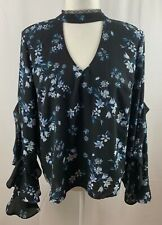 Living Doll Women's Large Black Floral Blouse Ruffle Sleeves Choker Collar Lace