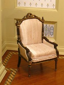 Bespaq Dark Walnut Pink Silk Arm Chair with Gilt Detailing - Dollhouse Miniature