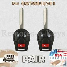 2x Car Transmitter Remote for 2009 2010 2011 2012 2013 2014 Nissan Cube 3btn