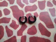 Black coated Stainless Steel small chubby hinged hoop earring pair