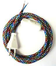 Textilkabel 2-adrig Zuleitung Eurostecker Lampenkabel + Stecker Schalter bunt 2m