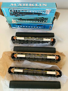 MARKLIN HO 4069 TINPLATE lot de 3 voitures couchettes de la SNCB boite d'origine