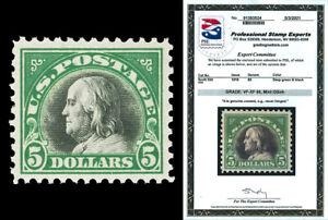 Scott 524 1918 $5.00 Franklin Bi-Color Mint Graded VF-XF 85 NH with PSE CERT!