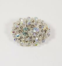 Vintage Heavy Silver Tone Oval Domed Crystal AB Pin