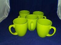 Set Of 6 Corelle Green 11-oz MUGS Stoneware Cups South Beach or Garden Sketch