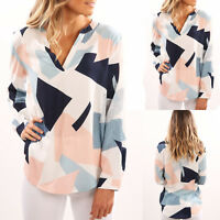 Women Long Sleeve Loose Blouse Shirts Floral T Shirt V Neck Casual Plus Size Top