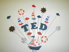 Boat, fish, nautical, fishing  birthday cake topper, personalised any name, age