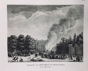 Autodafé du Pape au Palais Royal 1791 Rare Gravure Révolution Française Paris