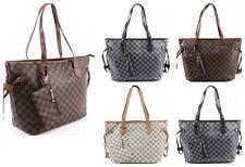 Ladies Shopper Checkered Print Handbag Women Cross Body Shoulder Totes Bag
