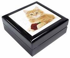 Ginger Kitten with Red Rose Keepsake/Jewellery Box Christmas Gift, AC-158RJB