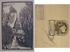 1930 ca TORINO DALLA COLLINA TORINESE  ACQUALAGNA Xilografia M. Alessandri Mole