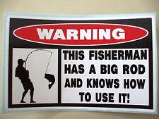 FUNNY WARNING FISHING BASS TROLLEY BAIT LURE TACKLE BOX STICKER DECAL BG ROD 609