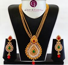 Indian Ethnic Bridal Jewelry-One Gram Gold Plated Polki Pendant Set-Rajwada set