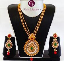 Indian Ethnic Bridal Jewelry-One Gram Gold Plated Polki Pendant Set-Rajwada set