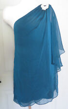 XSCAPE ~ Teal Draped Chiffon Jewel One Shoulder Shift Party Dress 14 NEW $129