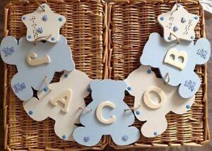 Teddy Bear wooden personalised bunting New baby, nursery decor, gift boy, girl