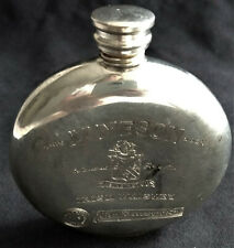 Vintage JAMESON IRISH WHISKEY Round Engraved Flask Stainless Steel