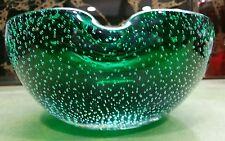 Large Mid Century Murano Emerald Green Art Glass Controlled Bubble Cigar Ashtray