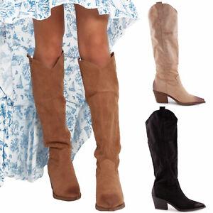 Stivali donna texani morbidi effetto invecchiato western scarpe TOOCOOL D7760