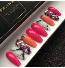 Hand Painted False Nails Pink Peach Marble Diamante Long Coffin Press On Nails