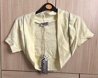 Lemon Yellow Silver Trim Bolero Shrug Top Cardigan Size S/M UK 8/10 BNWT