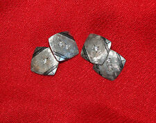 ANTIQUE PLATINUM AND DIANOND CUFF LINKS -AAPOXIMATELY .12 CARATS T.W.-