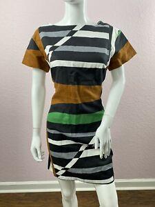 Derek Lam Design Nation Linen Green Grey and Brown Abstract Dress Size 12