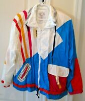Vintage 1980's Abstract VENEZIA Colorful Windbreaker Jacket SZ 18/20 - NEW NWT