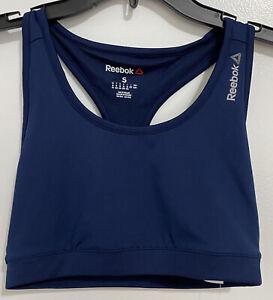 Reebok Workout Sports Bra Navy Blue Size S Speedwick Training Fitted