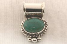 Signed Native American Navajo Sterling Silver Stone Mountain Turquoise Pendant