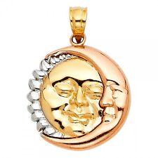 14K Tri Color Gold Moon & Sun Pendant GJPT1935