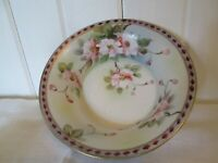 Hand Painted Japan Serving Bowl Small Pink Wild Roses Buds Leaves Moriage