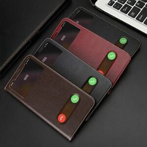Genuine Leather Call View Flip Phone Case For iPhone 11 12 13 Pro Max XR 7 8 SE