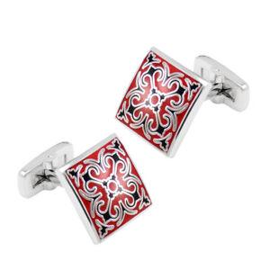 Square Pattern Cufflinks Men's Enamel Cuff Links Metal Casual Red & Black
