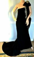 MARCHESA Crystal Embellished Black Long Maxi Dress Evening Gown IT 42 / US 6
