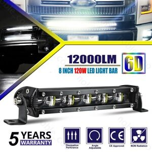 8 INCH SLIMEST LED Light Bar Spot Beam Fog Snow Lamp for Truck 4WD UTV SUV ATV