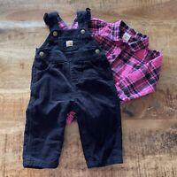 Carhartt Infant Girls Black Corduroy Overalls 9 Months Black Pink Plaid Bodysuit