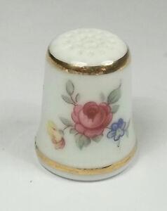 dé à coudre en porcelaine ,thimble,vingerhoed, fleurs  *13-D