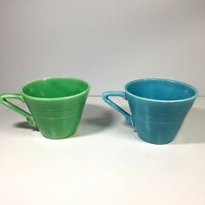 2 Vintage Homer Laughlin Harlequin Coffee Cups Turquoise Blue Green Art Deco