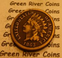 1863  CN   Indian Head Penny Cent  Coin  #R63