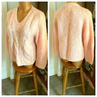 VTG 60s PINK MOHAIR & WOOL BLEND V-NECK PULLOVER SWEATER ITALY SZ 38