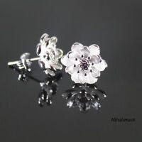 Damen 925 Silber Plattierte Lotus Blume 10mm Ohrstecker Ohrschmuck