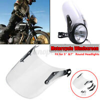 """Clear Lens Universal Motorcycle Windshield for 5"""" & 7"""" Round Headlight"""