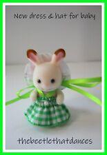 Sylvanian Families ropa, nuevo vestido D y Sombrero para Bebé Conejo, Gato, Zorro Figuras Etc