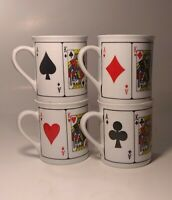 Vintage Royal Flush Playing Cards Ceramic Coffee Mug Cup set of 4