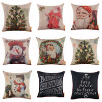 Merry Christmas Cushion Cover Season Decor Xmas Gift Throw Pillow Case Farmhouse