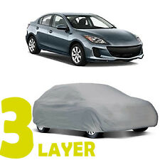 TRUE 3 LAYERS GRAY FITTED CAR COVER INDOOR/OUTDOOR WATER RESISTANT for MAZDA 3