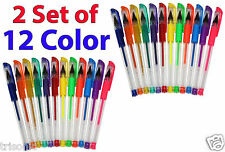 2 Set (12 Colors) Gel Pen Glitter Pens Asst Scrapbooking Crafter DIY Gift Card