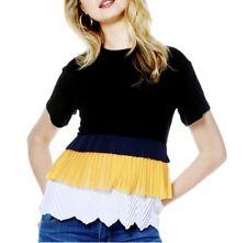 Gracia Color block pleats detail sleeveless top Size M/ Black