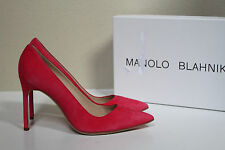 New sz 8 / 38 Manolo Blahnik BB Strawberry Suede Pointed Pump Classic Heel Shoes